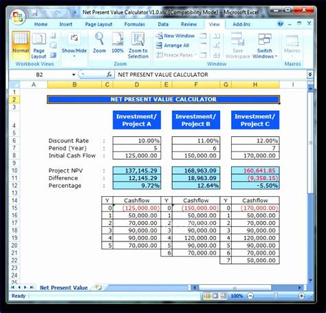 excel net present value template 8 npv calculator excel template exceltemplates