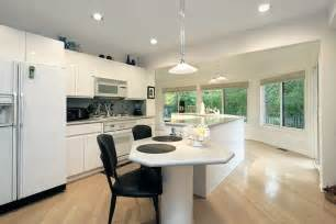 bright kitchen with unique white island the shaped beautiful features two islands one topped