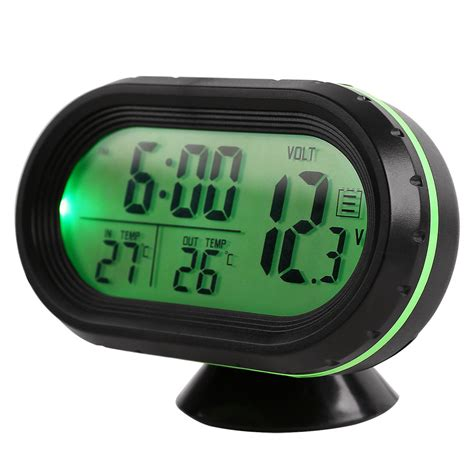 12v digital car voltage monitor battery alarm clock lcd temperature thermometer