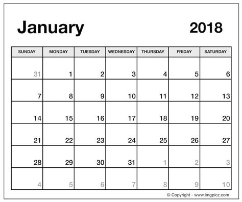 2018 Printable Calendar Word January 2018 Calendar Word Calendar Template Excel