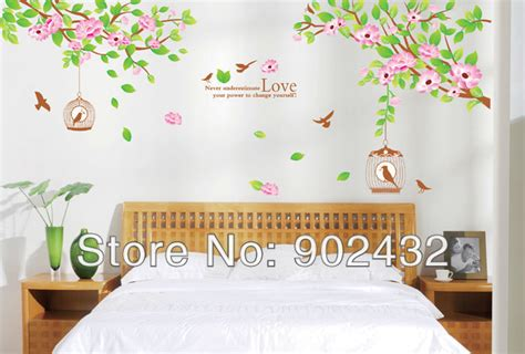 buy wall stickers flowers  bird cage