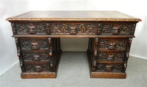 Carved Desk by Carved Oak Green Desk 290432 Sellingantiques Co Uk
