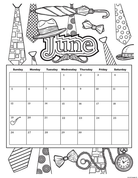 june color june 2019 calendar summer coloring pages printable