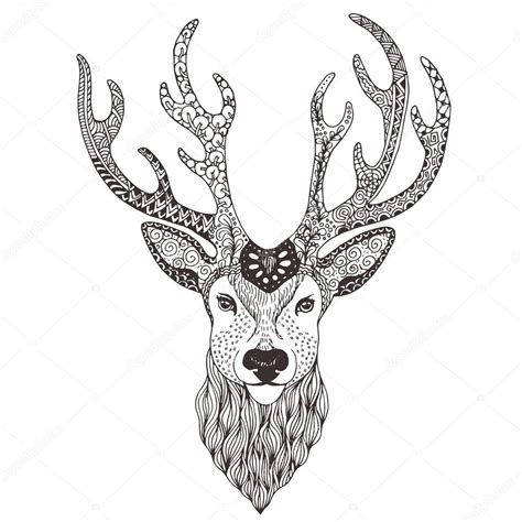 deer head tattoo mehendi stock vector 169 vector art 92760412