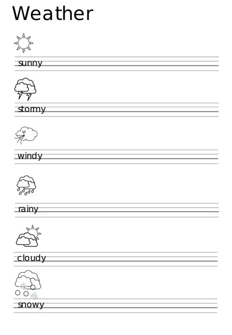 printable worksheets for kindergarten esl kindergarten weather worksheets the weather worksheets