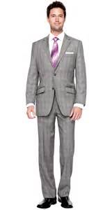 Manchester plaid classic fit suit grey bachrach