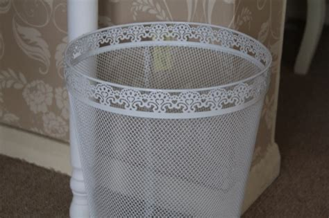 white metal lace waste paper bin bedroom office shabby