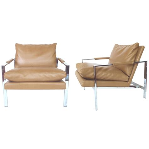 Milo Baughman Lounge Chairs by 1960s Milo Baughman Chrome Lounge Chairs A Pair At 1stdibs