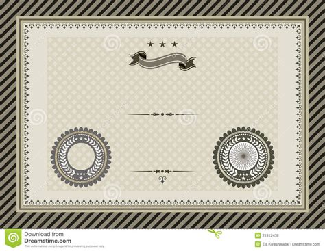certificate seal template retro template certificate with seals royalty free stock