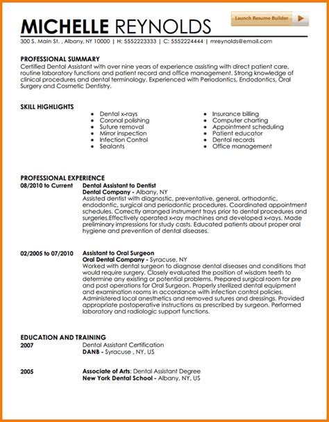 resume for dental assistant 5 experienced dental hygienist resume financial