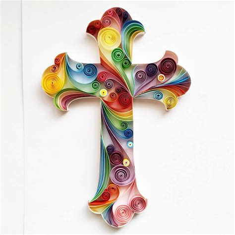 Handmade Artwork - quilled paper cross handmade artwork