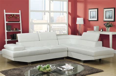Furniture Deals Sectionals Connor Contemporary White Wood Pu Metal Sectional Sofa