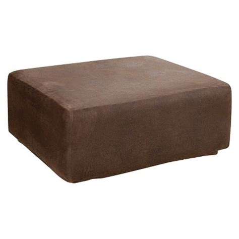 covers for ottomans sure fit stretch leather ottoman slipcover brown target
