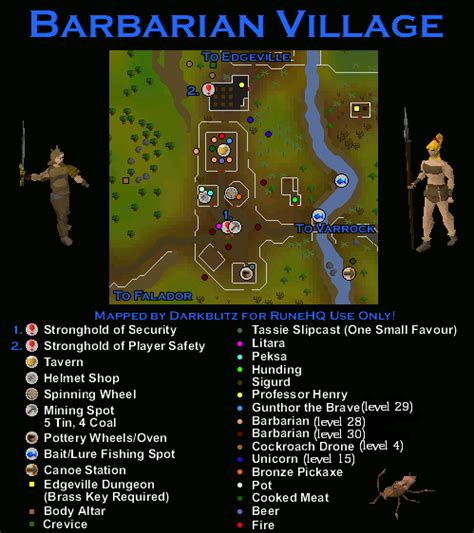 barbarian village map runescape guide runehq
