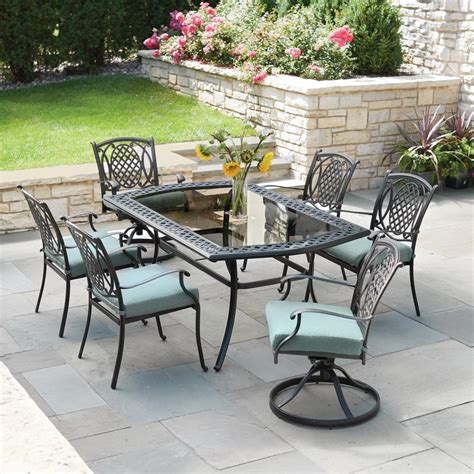 outdoor patio dining set hton bay belcourt 7 metal outdoor dining set with
