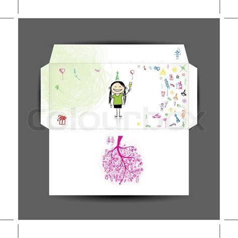 printable happy birthday envelope design of envelope happy birthday stock vector colourbox