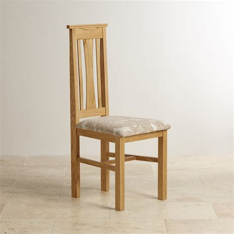 Patterned Fabric Dining Chairs Tokyo Dining Chair In Solid Oak Beige Patterned Fabric