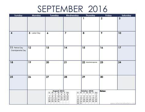 September Kalender 2016 Printable Calendar September 2016 When Is Calendar