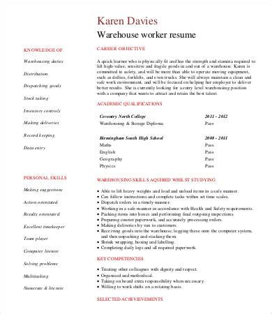 Student Worker Resume by Warehouse Worker Resume 7 Free Sle Exle Format Free Premium Templates