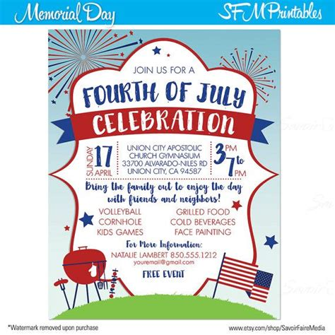 Invitation Sle For 1000 Images About Fourth 4th Of July Invitation On Poster Templates Flyers And
