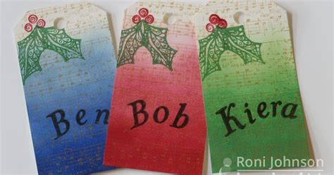 ink stains christmas tags