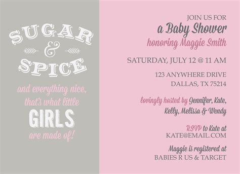 Sugar And Spice And Everything Baby Shower by Sugar And Spice Baby Shower Kateogroup Custom Invitations