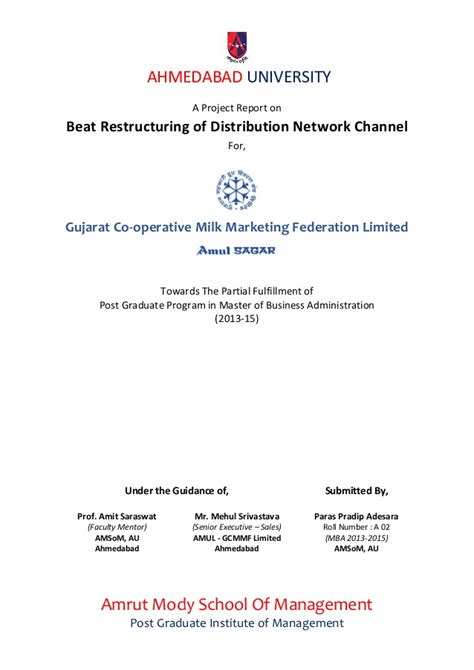 Mba Project Report On Distribution Channel Pdf by Sip Report Amul Gcmmf Beat Restructuring Of Distribution