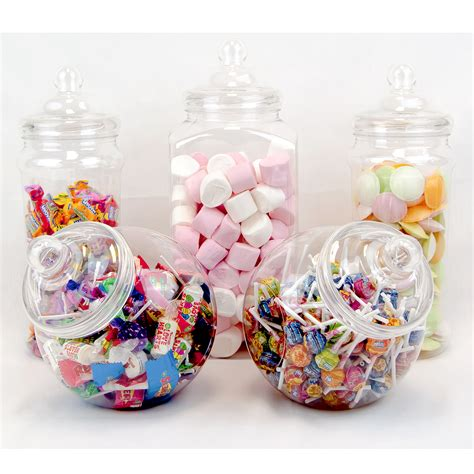 5 large retro plastic jars candy buffet sweet shop wedding
