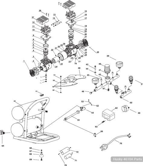husky 4 6 gallon portable air compressor 4610a parts