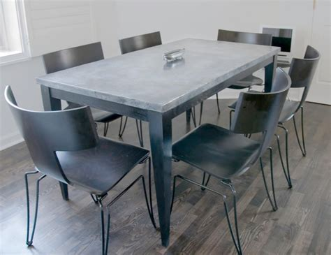 Custom Kitchen Table Custom Zinc Top Kitchen Table In Painted Oak Contemporary Dining Tables Boston By