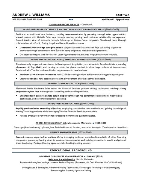 Resume Exles For Technical Sales Technology Sales Resume Best Resume Gallery
