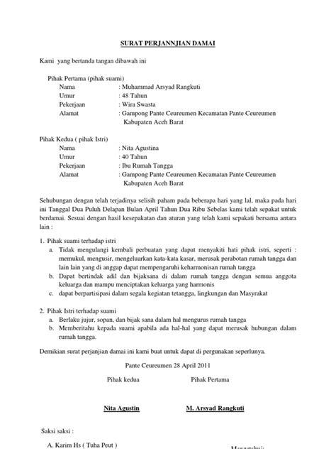 format surat pernyataan damai surat perjannjian damai