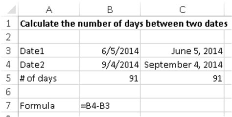 Calculator Number Of Days | calculate the number of days between two dates using excel