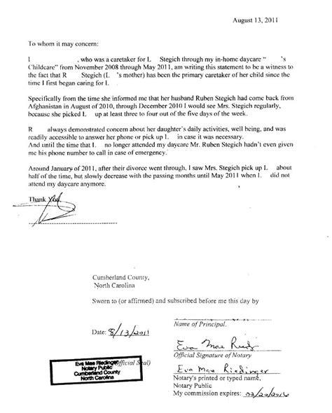 Divorce Statement Letter Ruben Alejandro Stegich