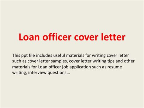 Mortgage Loan Officer Introduction Letter Loan Officer Cover Letter
