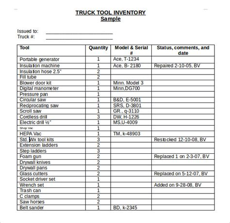 16 Tool Inventory Templates Free Sle Exle Format Download Free Premium Templates Mechanic Tool Inventory List Template