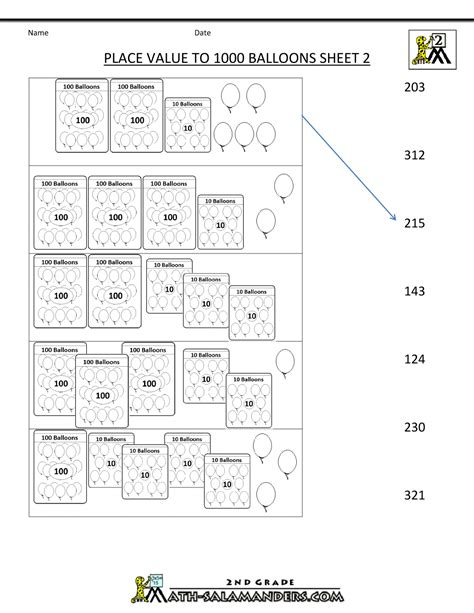 Math Worksheets For Grade 2 by Place Value Blocks With 3 Digit Number