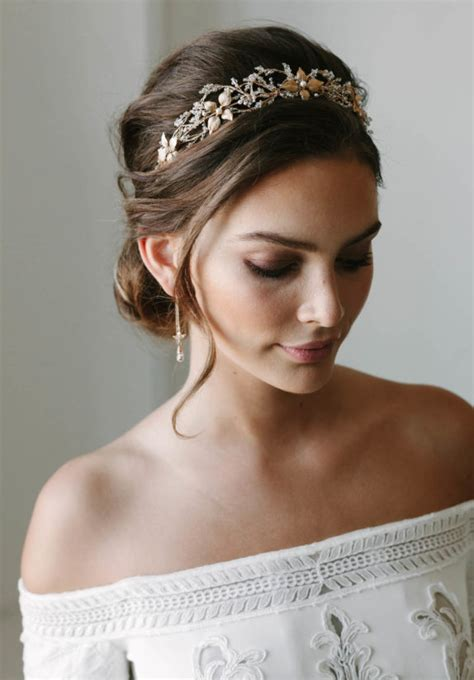 wedding hairstyles with crown and veil rosebury beaded wedding crown tania maras