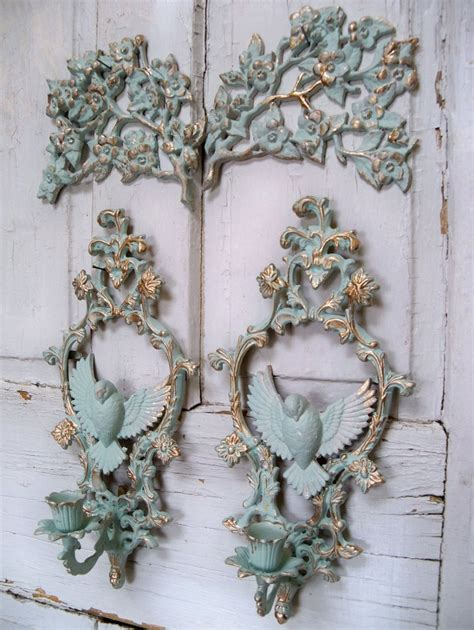 aqua vintage wall grouping with gold accents shabby chic