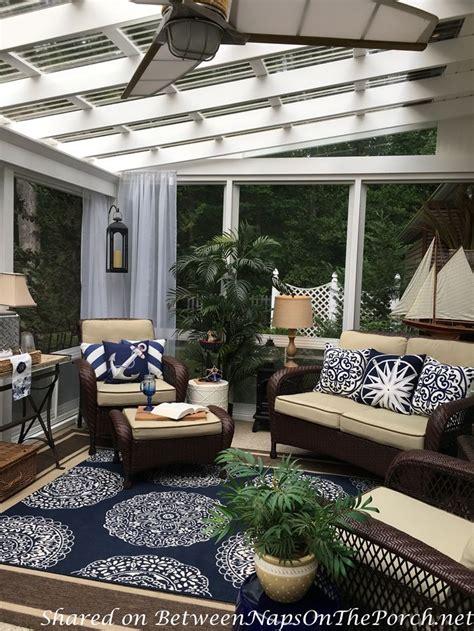 nautical decor tablescape    season porch navy