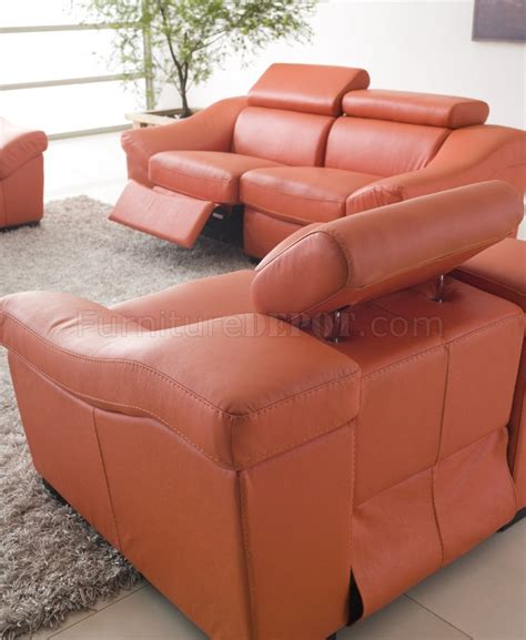 orange recliner 8021 reclining sofa in orange full leather by esf w options