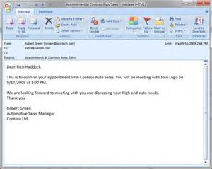 Conference Call Confirmation Email Template by Building The Contoso Auto Sales Office Business