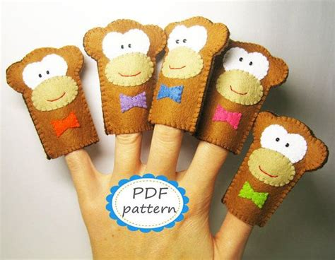 How To Make Handmade Puppets - pdf pattern five monkeys finger puppets set