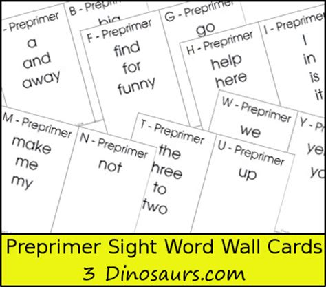 printable sight word index cards free dolch preprimer sight word wall cards 3 dinosaurs