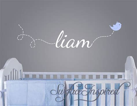 Baby Name Wall Decals For Nursery Wall Decal Baby Name Decal With Flying Bird 1002 A Room For Our