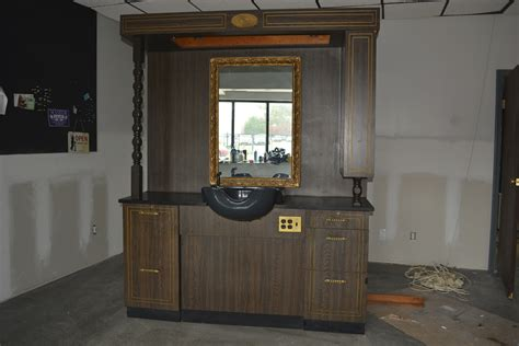 barber stations with sink props accessories