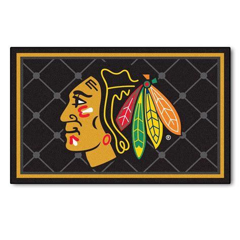 chicago blackhawks rug fanmats chicago blackhawks 4 ft x 6 ft area rug 10375 the home depot