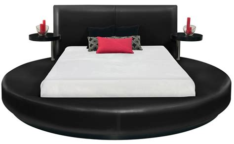 round black platform bed queen size