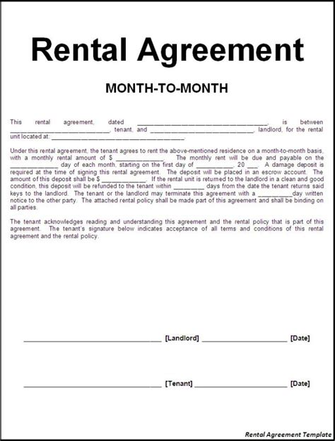 agreement letter between landlord and tenant interesting rental lease agreement template sle with month to month period between landlord