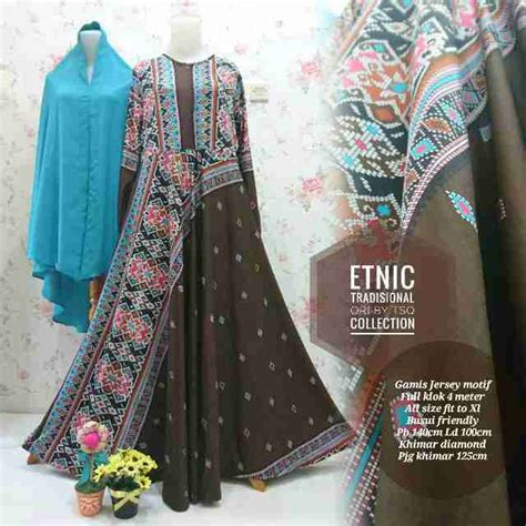 Gamis Jumbo Coklat baju gamis jumbo etnik syar i b099 busana muslim modern